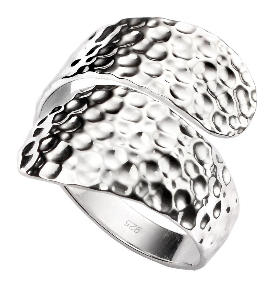 Hammered Wrap Silver Ring